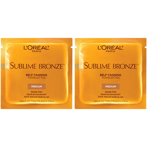 Two packets of L'Oreal Paris Sublime Bronze Self-Tanning Towelettes
