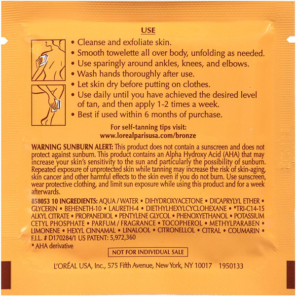 Back of L'Oreal Paris Sublime Bronze Self-Tanning Towelettes packet