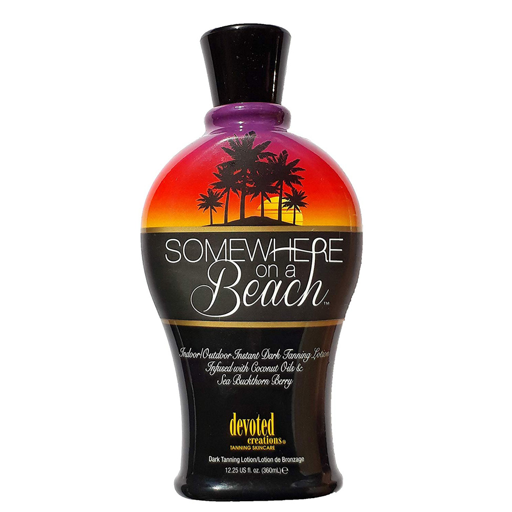 Somewhere on a beach tanning lotion bottle featured image